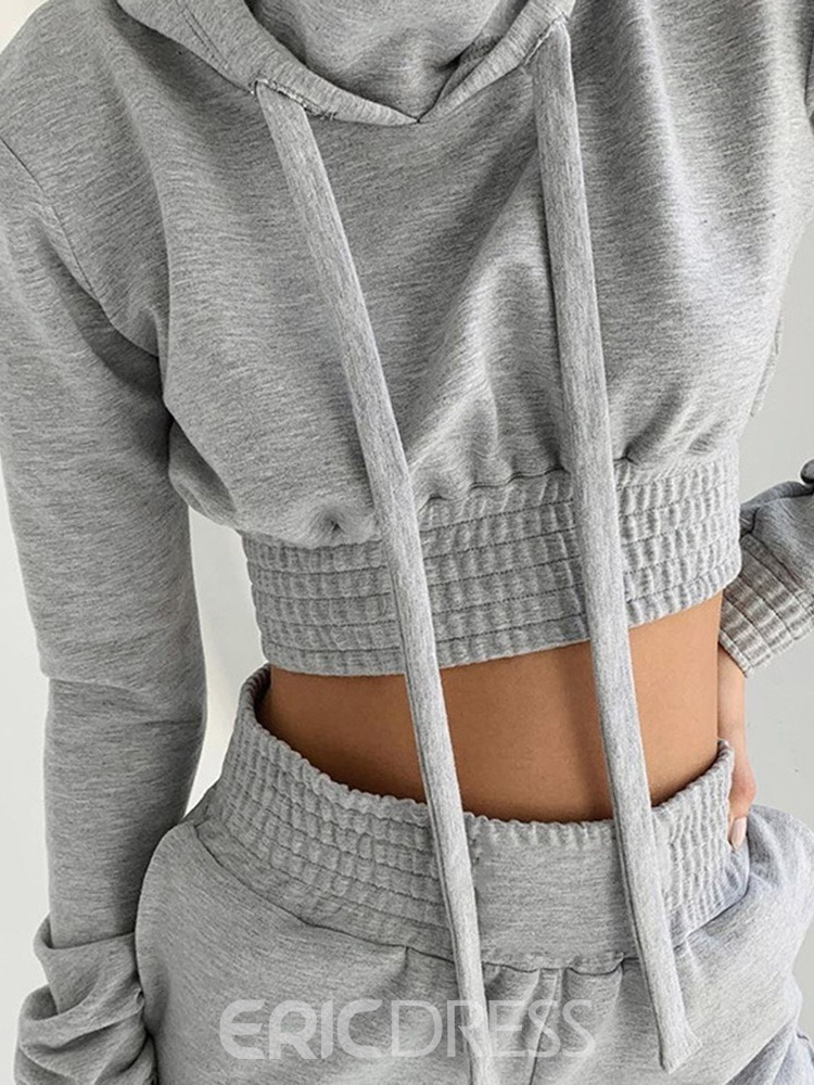 Ericdress With Hood Cotton Blends Solid Running Long Sleeve Clothing Sets