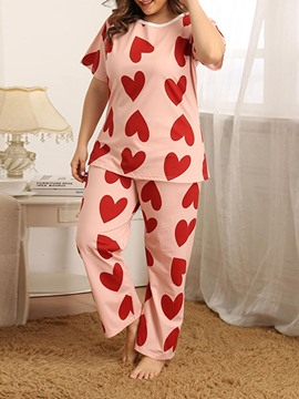 Ericdress Simple Heart Shaped Print Short Sleeve Regular Pajama Suit