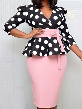 Ericdress Three-Quarter Sleeve Knee-Length Patchwork Polka Dots Pencil Dress