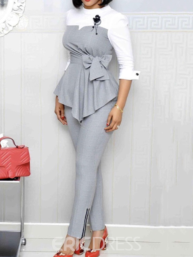 Ericdress Wear to Work Pants Asymmetric Pencil Pants Pullover Two Piece Sets