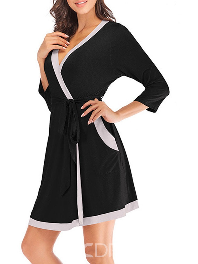 Ericdress Single Color Block Lace-Up Slim Simple Night-Robes