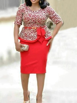 Ericdress Print Skirt Office Lady Round Neck Two Piece Sets