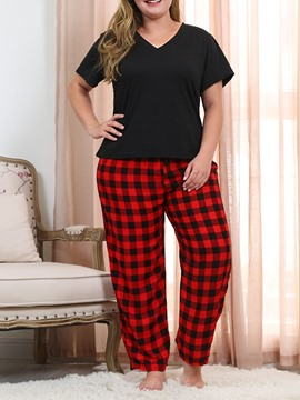 Ericdress Plaid Polyester Simple Sleep Bottom Regular Pajama Suit