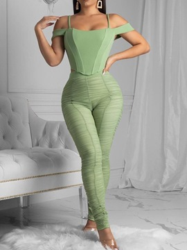 Ericdress Pleated Pants Date Night Square Neck Pencil Pants Two Piece Sets