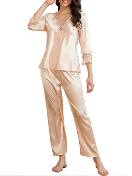 Ericdress Polyester Embroidery Simple Three-Quarter Sleeve V-Neck Women's Pajama Suit