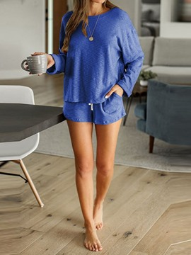 Ericdress Plain Polyester Lace-Up Long Sleeve Sleep Bottom Pajama Suit