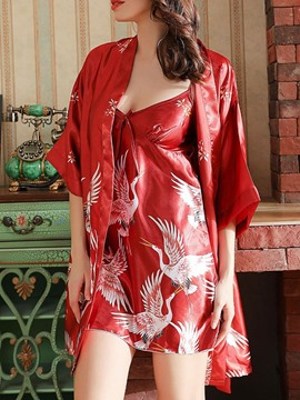 Ericdress Sexy Polyester Print V-Neck Robe Pajama Suit