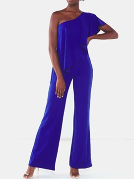 Ericdress Office Lady Full Length Plain Straight Slim Jumpsuit