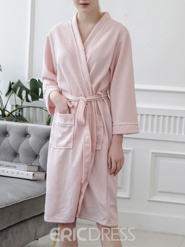 Ericdress Lace-Up Plain Single Polyester Simple Night-Robes