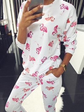 Ericdress Polyester Print Animal Long Sleeve Regular Pajama Suit