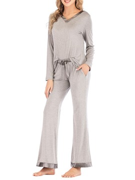 Ericdress Simple Polyester Color Block Regular Sleep Top Pajama Suit