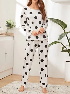 Ericdress Simple Polka Dots Print Sleep Bottom Round Neck Pajama Suit
