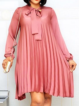 Ericdress Round Neck Knee-Length Long Sleeve Sweet Pleated Dress