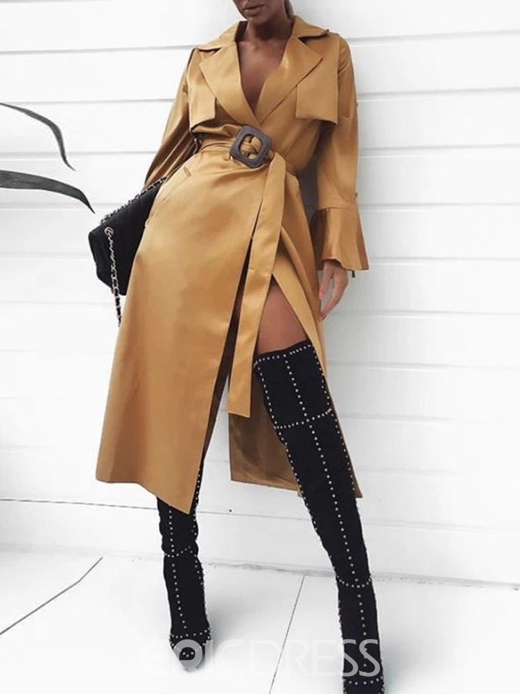 Ericdress Long Lace-Up Long Sleeve Casual Trench Coat