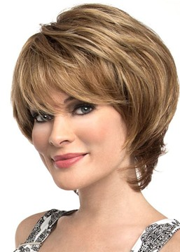 Ericdress Short Bob Hairstyles Women's Natural Straight Human Hair Wih Bangs Lace Front Cap Wigs 8Inch