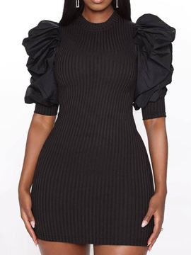 Ericdress Stand Collar Above Knee Pleated Puff Sleeve Bodycon Dress