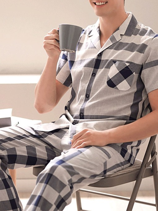 Ericdress Print Plaid Simple Single-Breasted Polyester Pajamas Sets