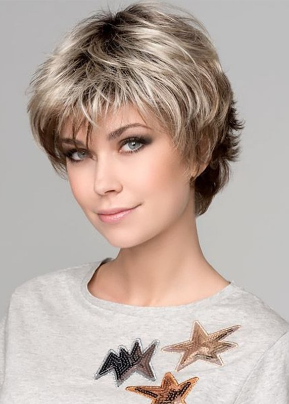 Ericdress Womens Short Bob Hairstyles Natural Layered Wavy Synthetic Capless Wigs With Bangs 6Inch