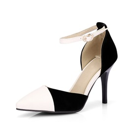 Ericdress Line-Style Buckle Heel Covering Pointed Toe Color Block Sandals