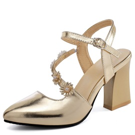 Ericdress Pointed Toe Chunky Heel Buckle Casual Sandals