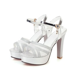 Ericdress Buckle Chunky Heel Peep Toe Thread Women's Sandals