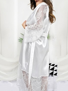 Ericdress Lace-Up Lace Plain Polyester Long Sleeve Night-Robes