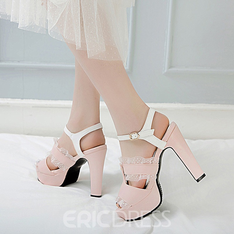 Ericdress Buckle Peep Toe Chunky Heel Hollow Sandals