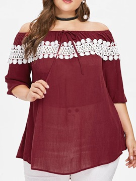Ericdress Color Block Mid-Length Off Shoulder Casual Plus Size T-Shirt