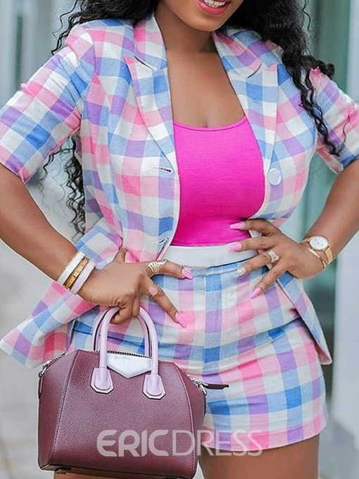 Ericdress Office Lady Shorts Print Straight Single-Breasted Two Piece Sets