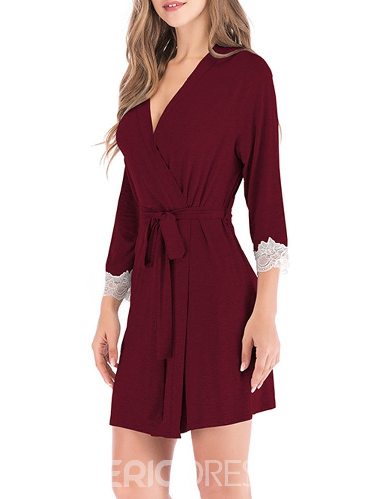 Ericdress Lace-Up Color Block Single Polyester Simple Night-Robes