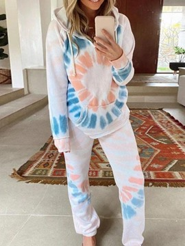 Ericdress Polyester Simple Print Hooded Long Sleeve Pajama Suit