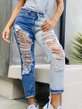 Ericdress Hole Color Block Straight Slim Zipper Jeans
