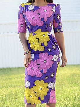 Ericdress Half Sleeve Print Mid-Calf Regular Floral Dress