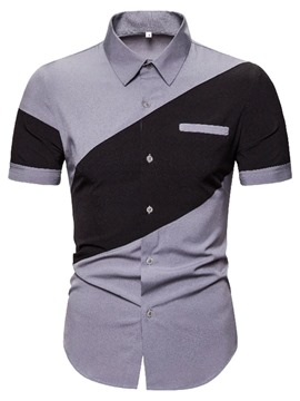 Ericdress Casual Color Block Single-Breasted Summer Shirt