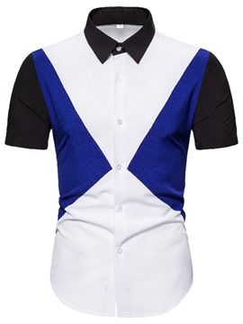 Ericdress Color Block Casual Slim Single-Breasted Shirt