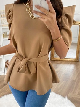 Ericdress Pleated Round Neck Puff Sleeve Standard Short Sleeve Blouse