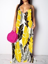 Ericdress Sleeveless Print Floor-Length Travel Look Spaghetti Strap Dress