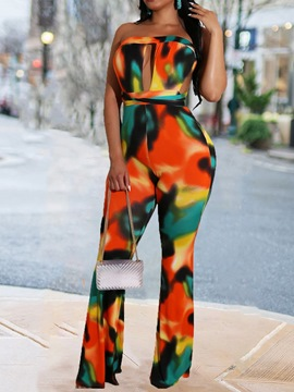 Ericdress Full Length Western Color Block Slim Mid Waist Jumpsuit