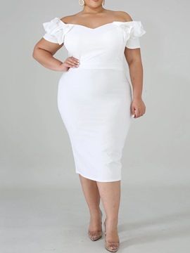 Ericdress Plus Size Mid-Calf Off Shoulder Short Sleeve Pencil Western Dress