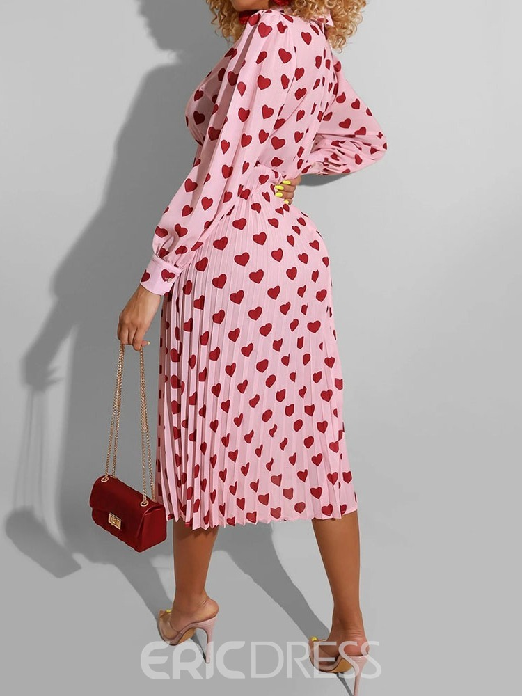 Ericdress Pleated Mid-Calf Polo Neck Heart Shaped Pleated Dress