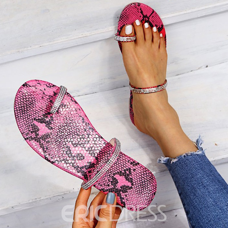 Ericdress Slip-On Flat With Toe Ring Slippers