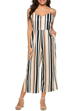 Ericdress Western Stripe Mid-Calf Loose Jumpsuit