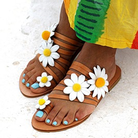 Ericdress Toe Ring Flat With 3D Beach Slippers