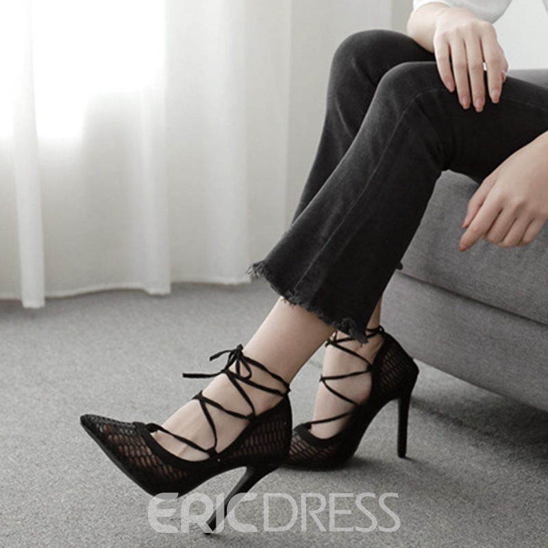 Ericdress Pointed Toe Cross Strap Stiletto Heel Casual Thin Shoes