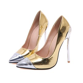 Ericdress Pointed Toe Slip-On Stiletto Heel Patchwork Thin Shoes