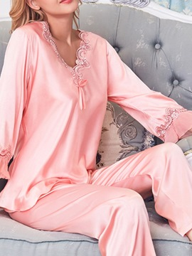 Ericdress Polyester Casual Patchwork V-Neck Three-Quarter Sleeve Pajama Suit