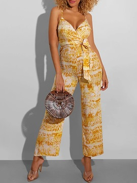 Ericdress Full Length Sexy Print Wide Legs Mid Waist Jumpsuit