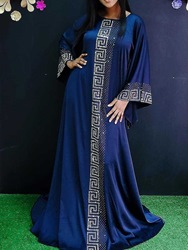 Ericdress Blue Dress Floor-Length Long Sleeve Round Neck Pullover Geometric Dress фото