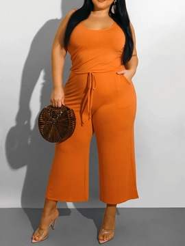 Ericdress Plus Size Lace-Up Western Plain High Waist Wide Legs Jumpsuit