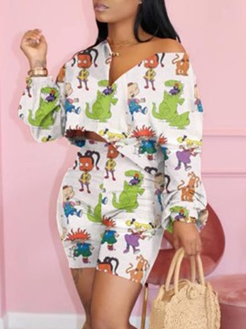 Ericdress Cartoon Print Shirt Pullover zweiteilige Sets
